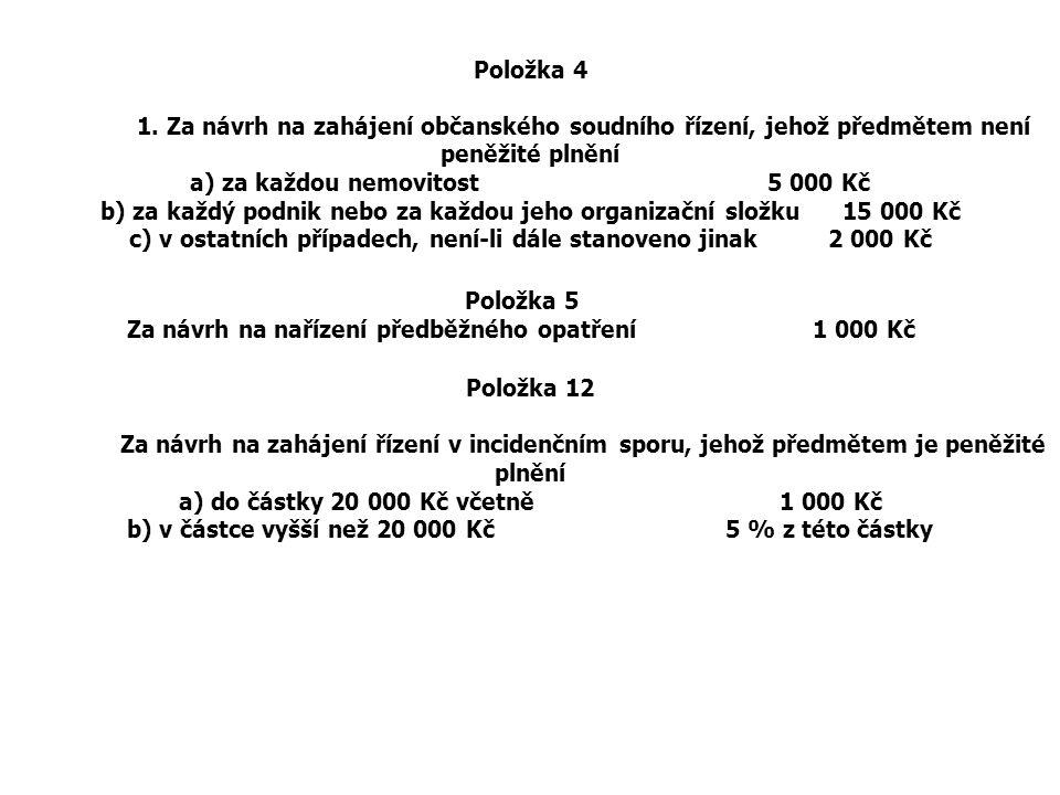 Položka 4 1. Za návrh na zahájení občanského soudního řízení, jehož předmětem není peněžité plnění a) za každou nemovitost 5 000 Kč b) za každý podnik