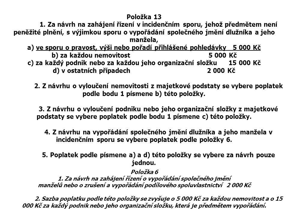 Položka 13 1. Za návrh na zahájení řízení v incidenčním sporu, jehož předmětem není peněžité plnění, s výjimkou sporu o vypořádání společného jmění dl