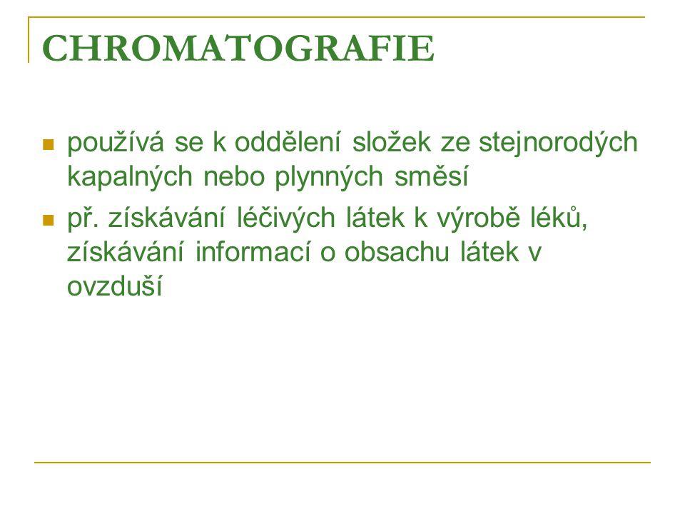 CHROMATOGRAFIE  používá se k oddělení složek ze stejnorodých kapalných nebo plynných směsí  př.