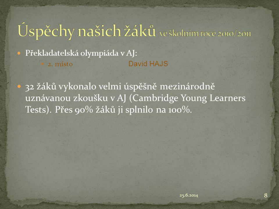 25.6.2014 8  Překladatelská olympiáda v AJ:  2. místo David HAJS  32 žáků vykonalo velmi úspěšně mezinárodně uznávanou zkoušku v AJ (Cambridge Youn