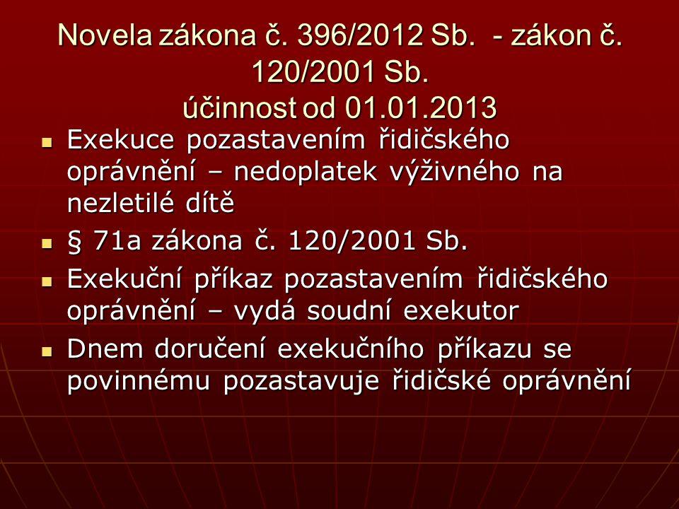 Novela zákona č. 396/2012 Sb. - zákon č. 120/2001 Sb. účinnost od 01.01.2013  Exekuce pozastavením řidičského oprávnění – nedoplatek výživného na nez