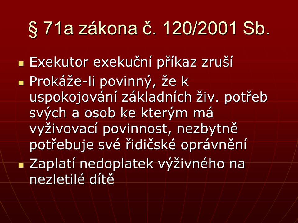 § 71a zákona č. 120/2001 Sb.  Exekutor exekuční příkaz zruší  Prokáže-li povinný, že k uspokojování základních živ. potřeb svých a osob ke kterým má