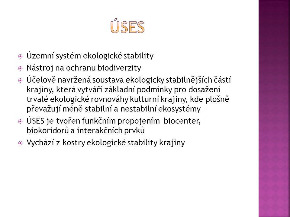  Územní systém ekologické stability  Nástroj na ochranu biodiverzity  Účelově navržená soustava ekologicky stabilnějších částí krajiny, která vytvá