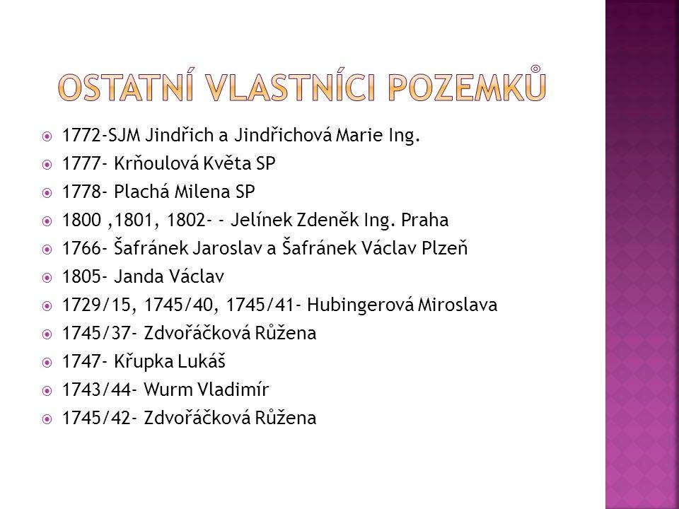  1772-SJM Jindřich a Jindřichová Marie Ing.  1777- Krňoulová Květa SP  1778- Plachá Milena SP  1800,1801, 1802- - Jelínek Zdeněk Ing. Praha  1766