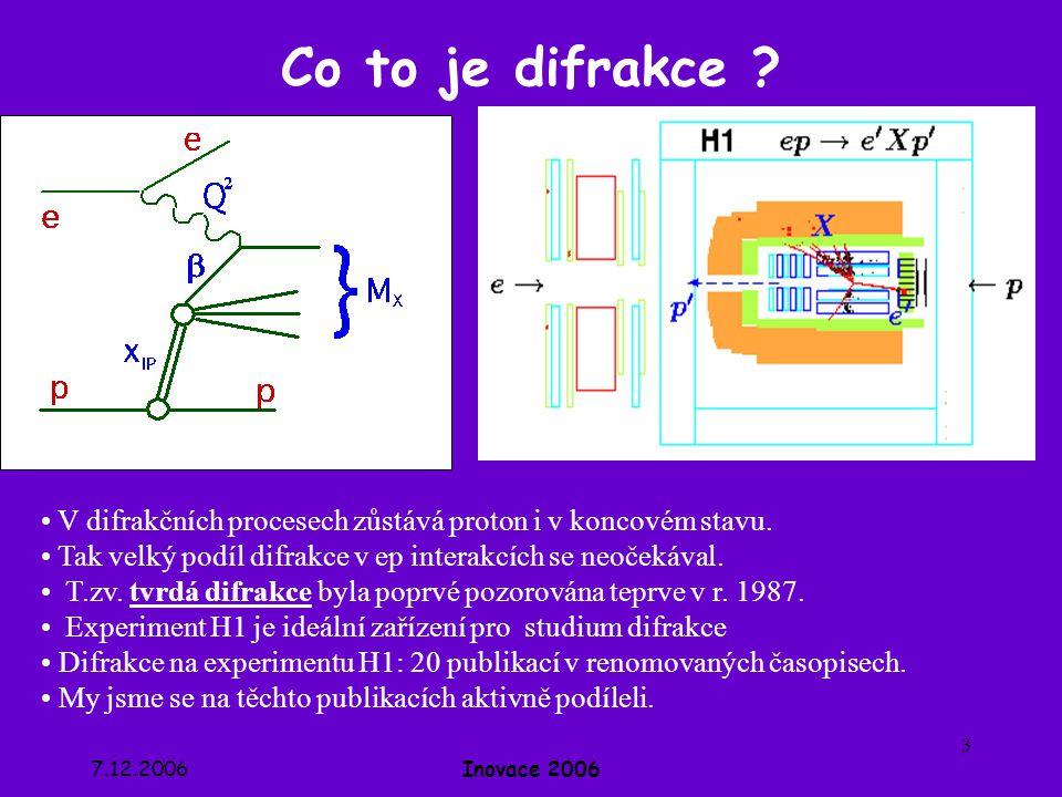7.12.2006Inovace 2006 4 VFPS – Very Forward Proton Spectrometer H1 ZEUS VFPS HERMES HERA-B VFPS Náš vklad: počítání protonových drah v trubici urychlovače HERA, simulace odezvy scintilačního detektoru VFPS, nalezení zasažených míst (hitů) v detektoru, rekonstrukce protonových drah a určení momentu hybnosti protonu.