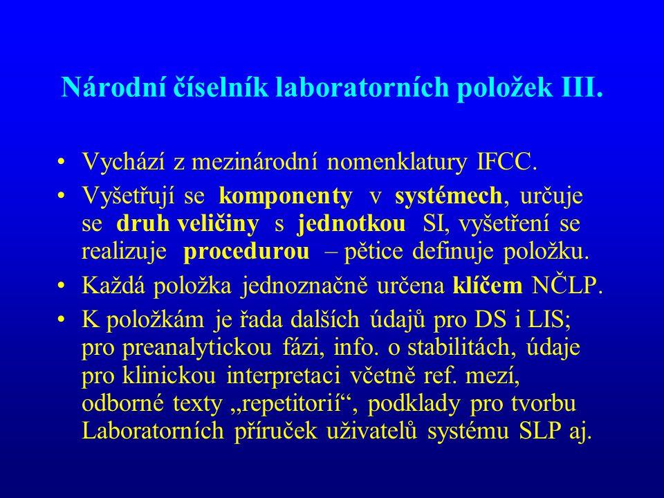 Národní číselník laboratorních položek III. •Vychází z mezinárodní nomenklatury IFCC. •Vyšetřují se komponenty v systémech, určuje se druh veličiny s