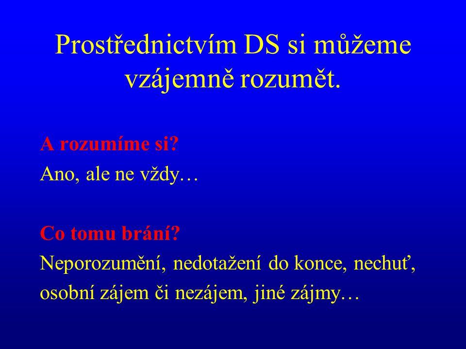 Prostřednictvím DS si můžeme vzájemně rozumět. A rozumíme si? Ano, ale ne vždy… Co tomu brání? Neporozumění, nedotažení do konce, nechuť, osobní zájem