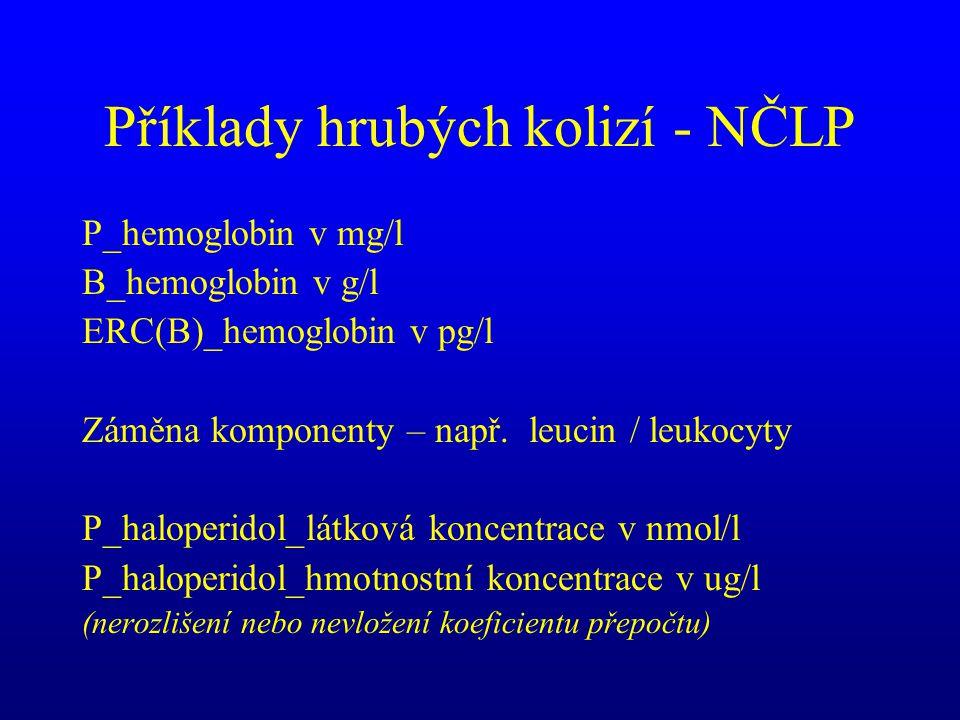 Příklady hrubých kolizí - NČLP P_hemoglobin v mg/l B_hemoglobin v g/l ERC(B)_hemoglobin v pg/l Záměna komponenty – např. leucin / leukocyty P_haloperi