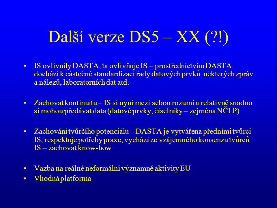 Další verze DS5 – XX (?!) •IS ovlivnily DASTA, ta ovlivňuje IS – prostřednictvím DASTA dochází k částečné standardizaci řady datových prvků, některých