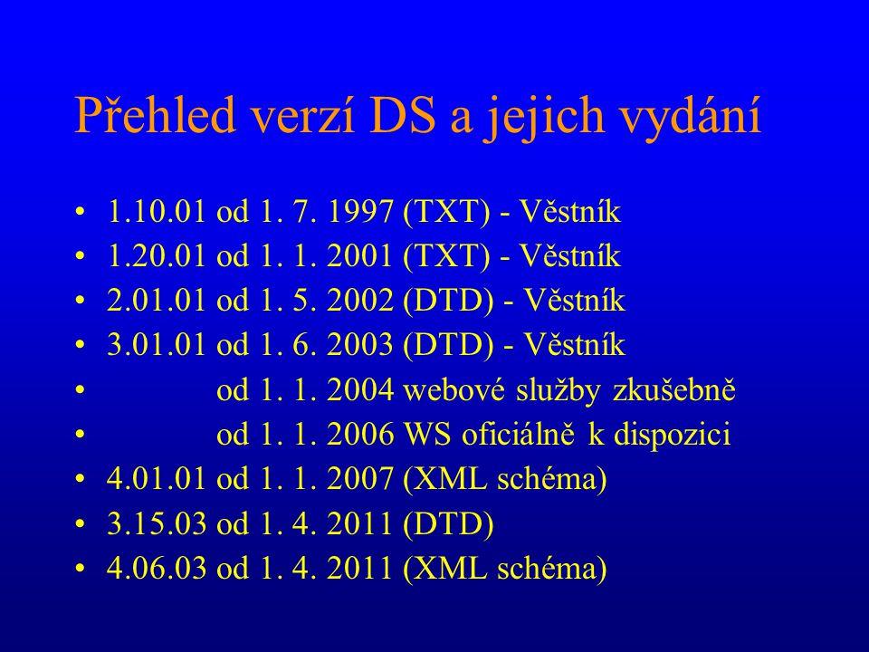 Přehled verzí DS a jejich vydání •1.10.01 od 1. 7. 1997 (TXT) - Věstník •1.20.01 od 1. 1. 2001 (TXT) - Věstník •2.01.01 od 1. 5. 2002 (DTD) - Věstník