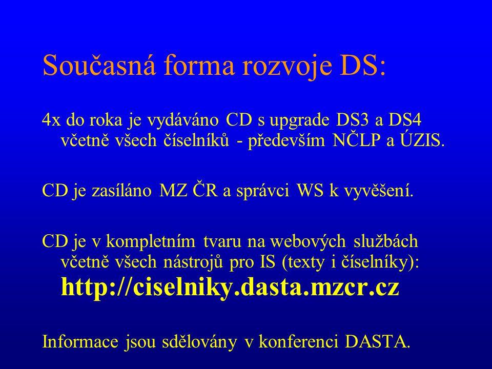 Současná forma rozvoje DS: 4x do roka je vydáváno CD s upgrade DS3 a DS4 včetně všech číselníků - především NČLP a ÚZIS. CD je zasíláno MZ ČR a správc