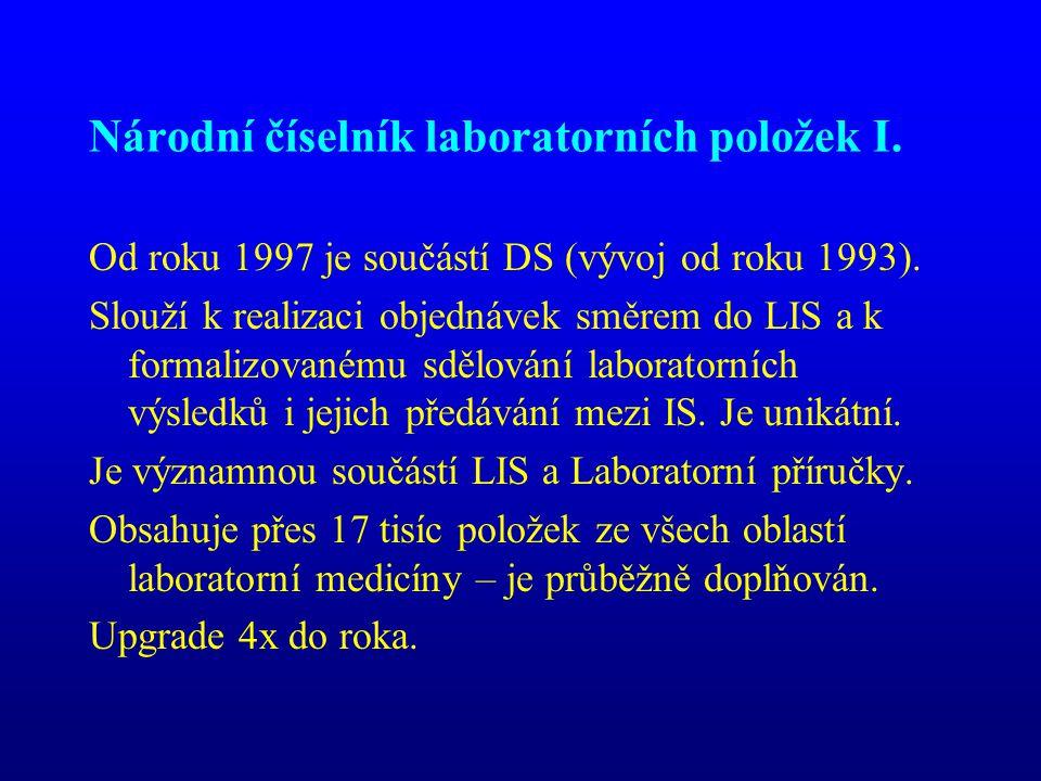 Národní číselník laboratorních položek I. Od roku 1997 je součástí DS (vývoj od roku 1993). Slouží k realizaci objednávek směrem do LIS a k formalizov