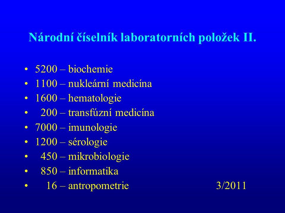Národní číselník laboratorních položek II. •5200 – biochemie •1100 – nukleární medicína •1600 – hematologie • 200 – transfúzní medicína •7000 – imunol