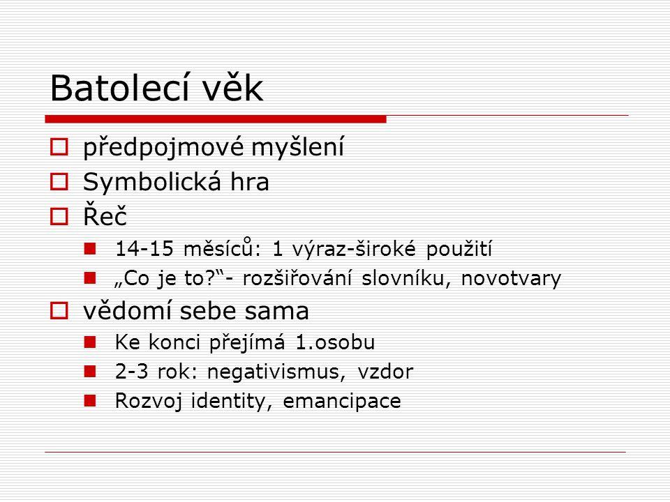 """Batolecí věk  předpojmové myšlení  Symbolická hra  Řeč  14-15 měsíců: 1 výraz-široké použití  """"Co je to?""""- rozšiřování slovníku, novotvary  vědo"""