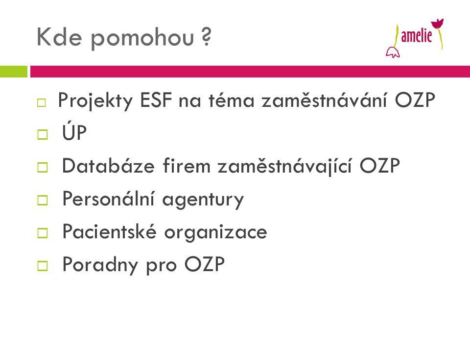 Kde pomohou ?  Projekty ESF na téma zaměstnávání OZP  ÚP  Databáze firem zaměstnávající OZP  Personální agentury  Pacientské organizace  Poradny