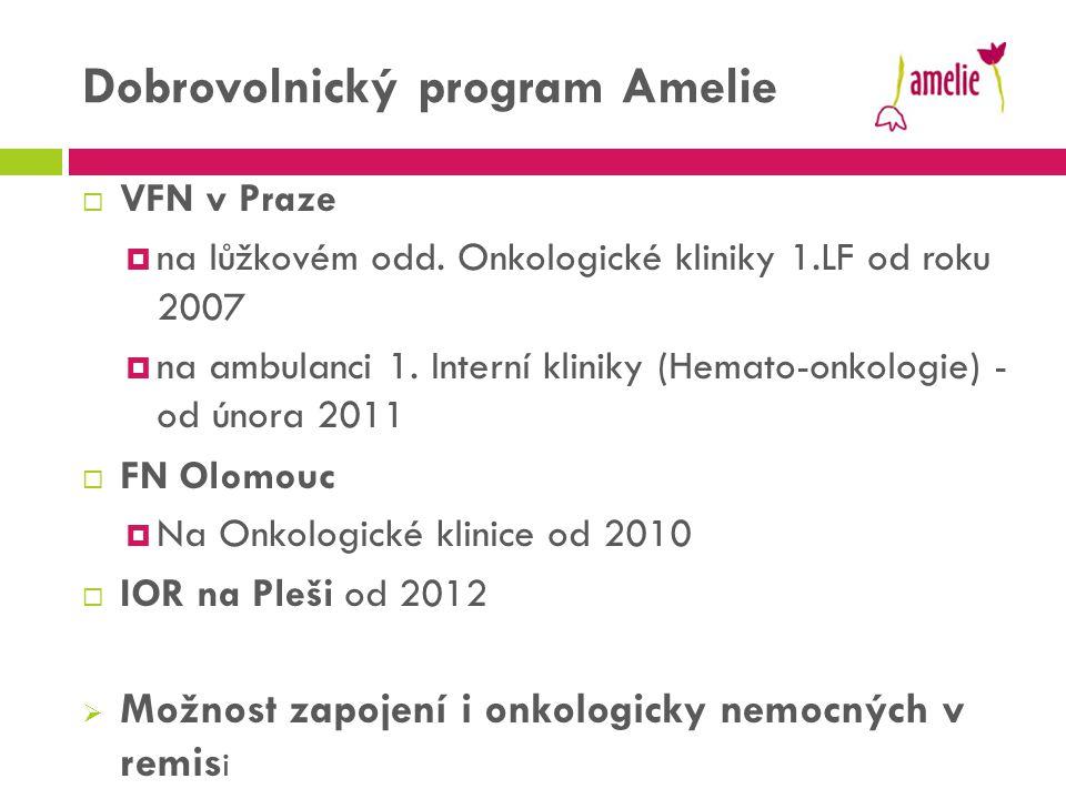 Dobrovolnický program Amelie  VFN v Praze  na lůžkovém odd. Onkologické kliniky 1.LF od roku 2007  na ambulanci 1. Interní kliniky (Hemato-onkologi