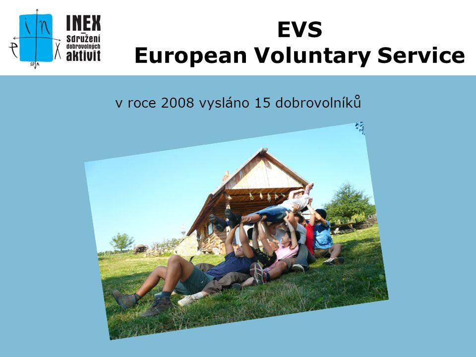 v roce 2008 vysláno 15 dobrovolníků EVS European Voluntary Service