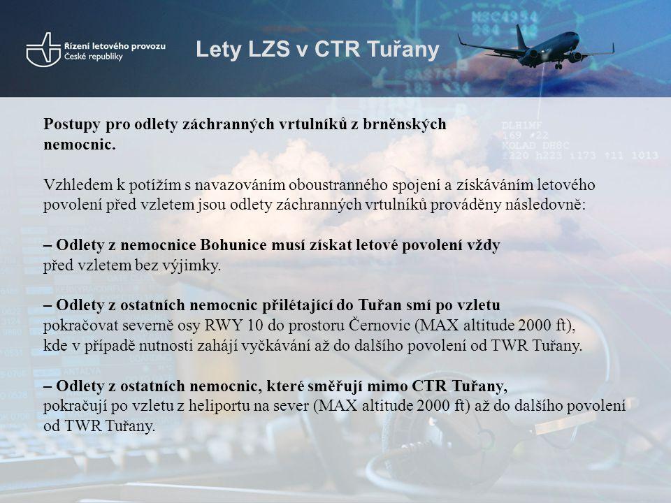 Lety LZS v CTR Tuřany Postupy pro odlety záchranných vrtulníků z brněnských nemocnic. Vzhledem k potížím s navazováním oboustranného spojení a získává