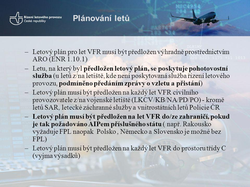 Plánování letů –Letový plán pro let VFR musí být předložen výhradně prostřednictvím ARO (ENR 1.10.1) –Letu, na který byl předložen letový plán, se pos