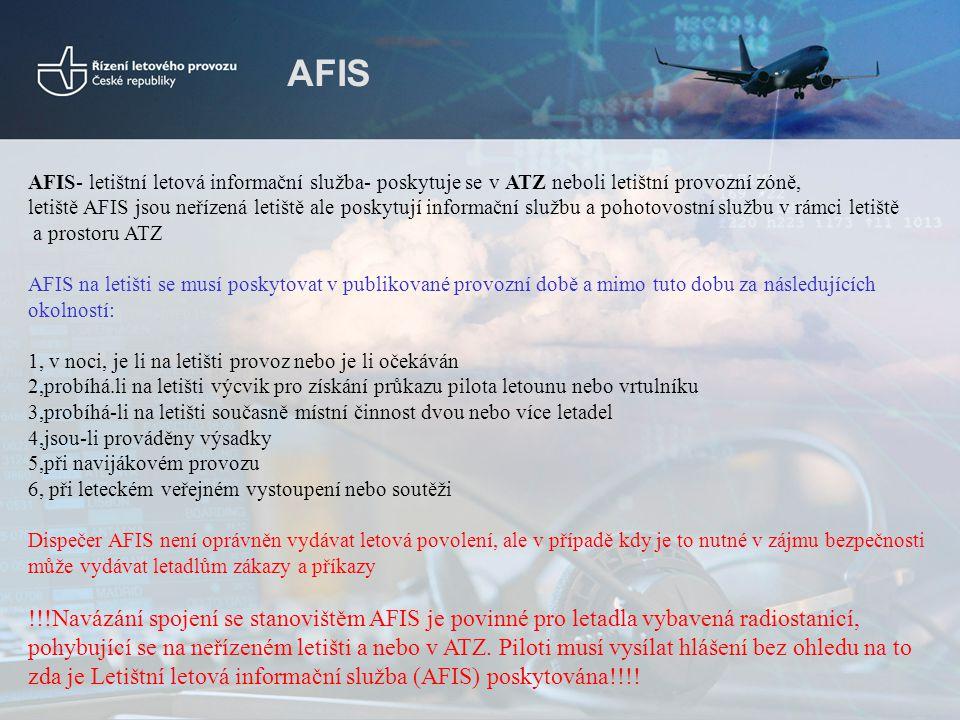 AFIS AFIS- letištní letová informační služba- poskytuje se v ATZ neboli letištní provozní zóně, letiště AFIS jsou neřízená letiště ale poskytují infor