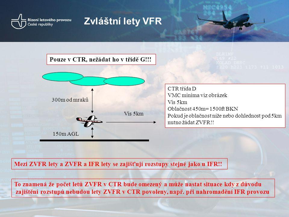 Zvláštní lety VFR Pouze v CTR, nežádat ho v třídě G!!! Vis 5km 150m AGL 300m od mraků CTR třída D VMC minima viz obrázek Vis 5km Oblačnost 450m= 1500f