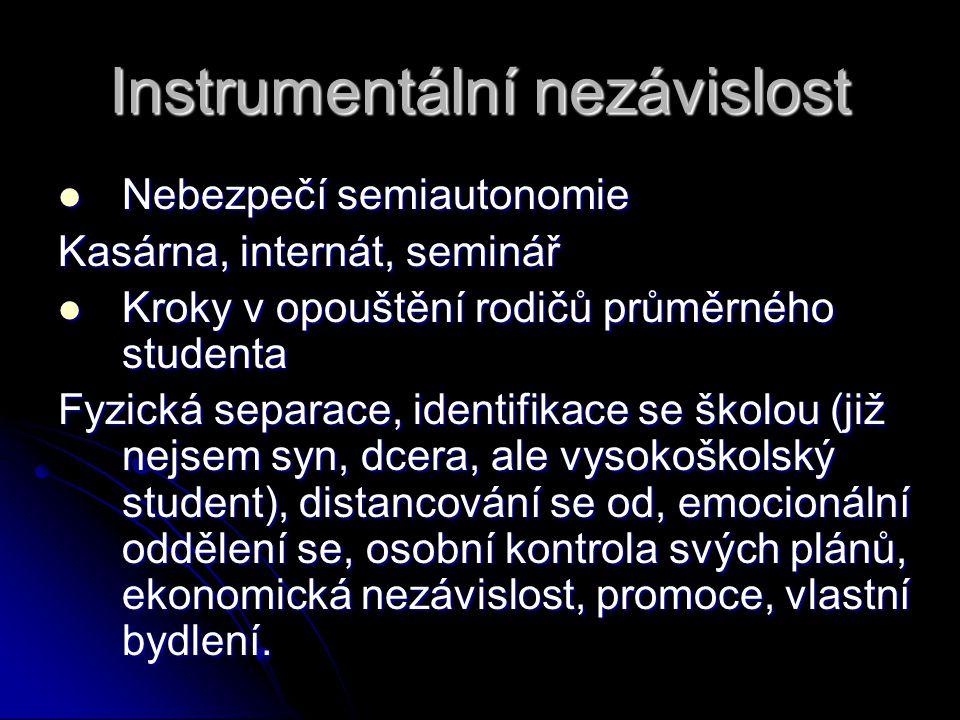 Instrumentální nezávislost  Nebezpečí semiautonomie Kasárna, internát, seminář  Kroky v opouštění rodičů průměrného studenta Fyzická separace, ident