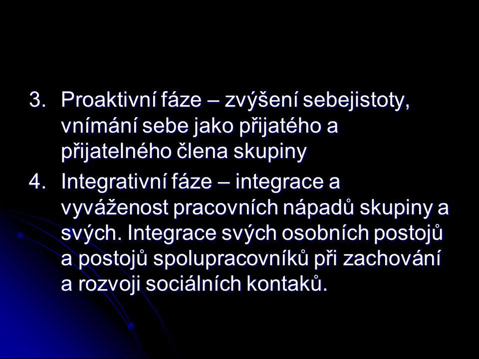 3. Proaktivní fáze – zvýšení sebejistoty, vnímání sebe jako přijatého a přijatelného člena skupiny 4. Integrativní fáze – integrace a vyváženost praco