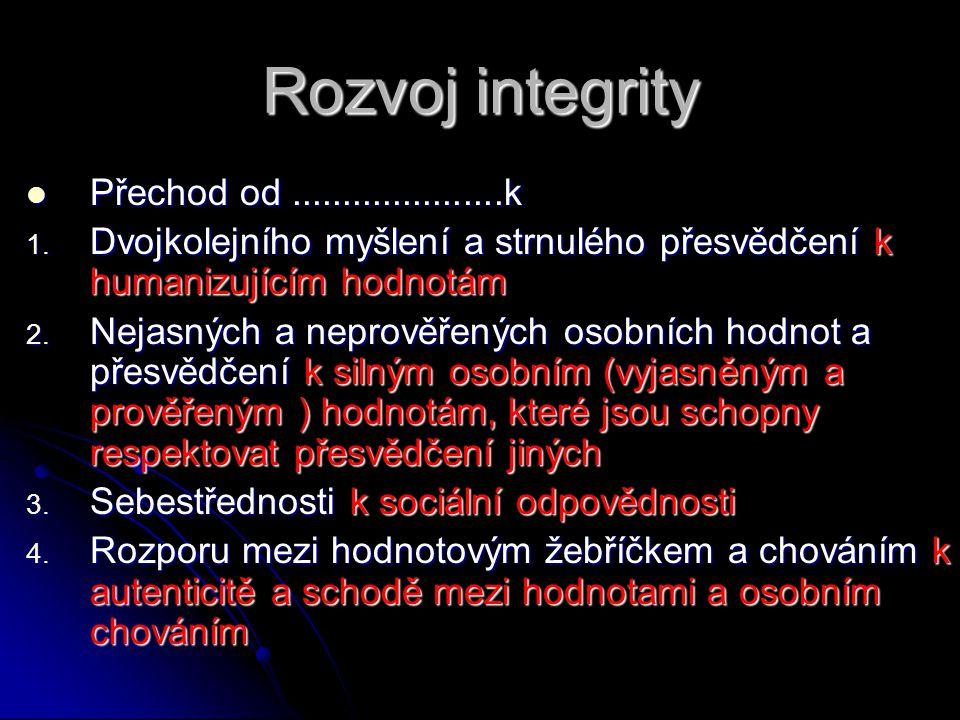 Rozvoj integrity  Přechod od.....................k 1. Dvojkolejního myšlení a strnulého přesvědčení k humanizujícím hodnotám 2. Nejasných a neprověře