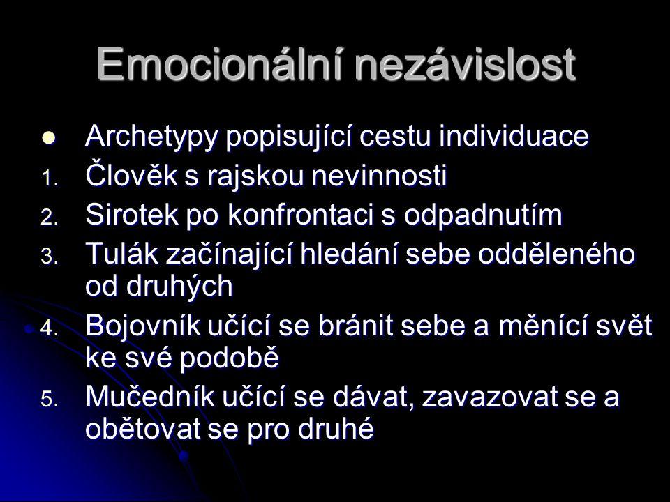 Emocionální nezávislost  Archetypy popisující cestu individuace 1. Člověk s rajskou nevinnosti 2. Sirotek po konfrontaci s odpadnutím 3. Tulák začína