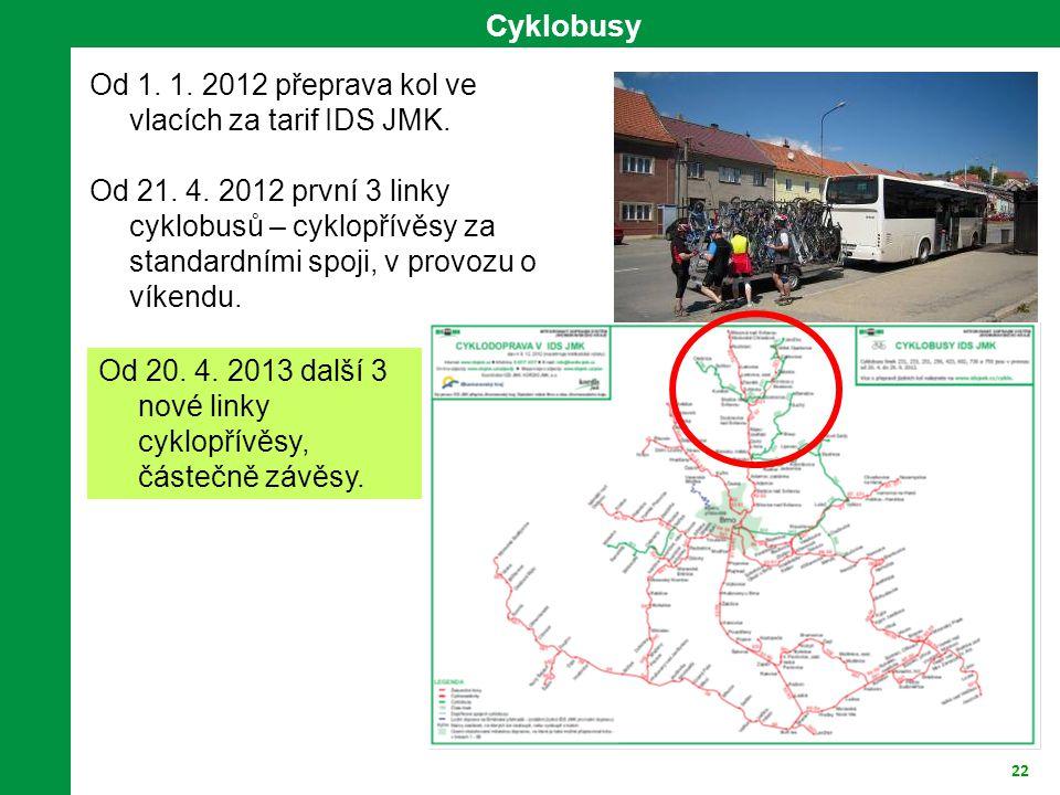 22 Cyklobusy Od 1.1. 2012 přeprava kol ve vlacích za tarif IDS JMK.