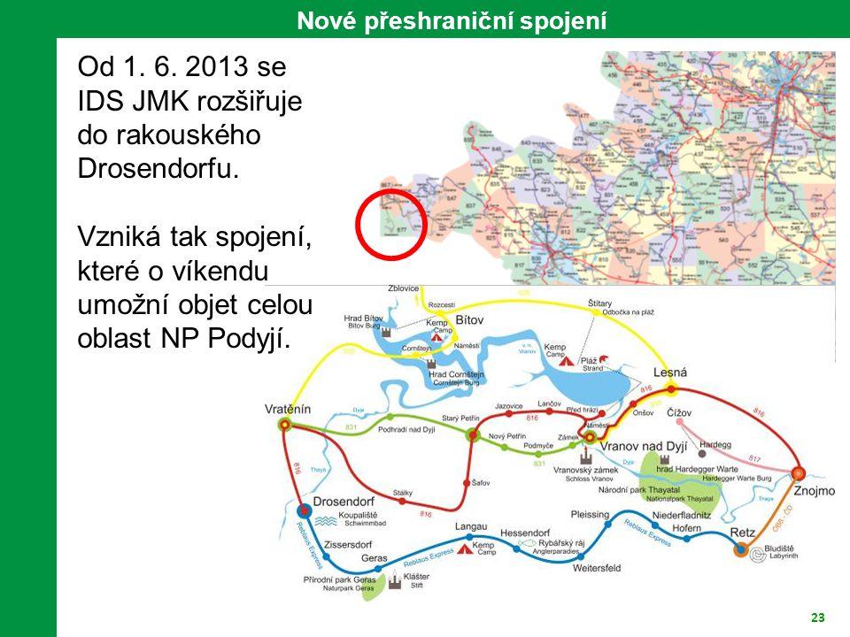 23 Nové přeshraniční spojení Od 1.6. 2013 se IDS JMK rozšiřuje do rakouského Drosendorfu.