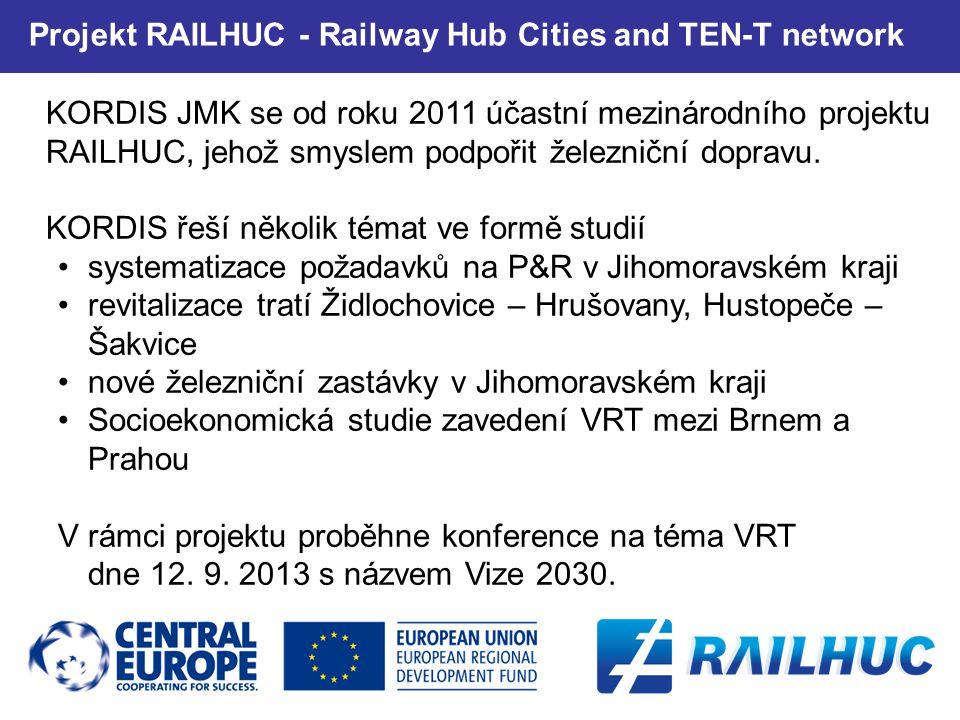 25 KORDIS JMK se od roku 2011 účastní mezinárodního projektu RAILHUC, jehož smyslem podpořit železniční dopravu.