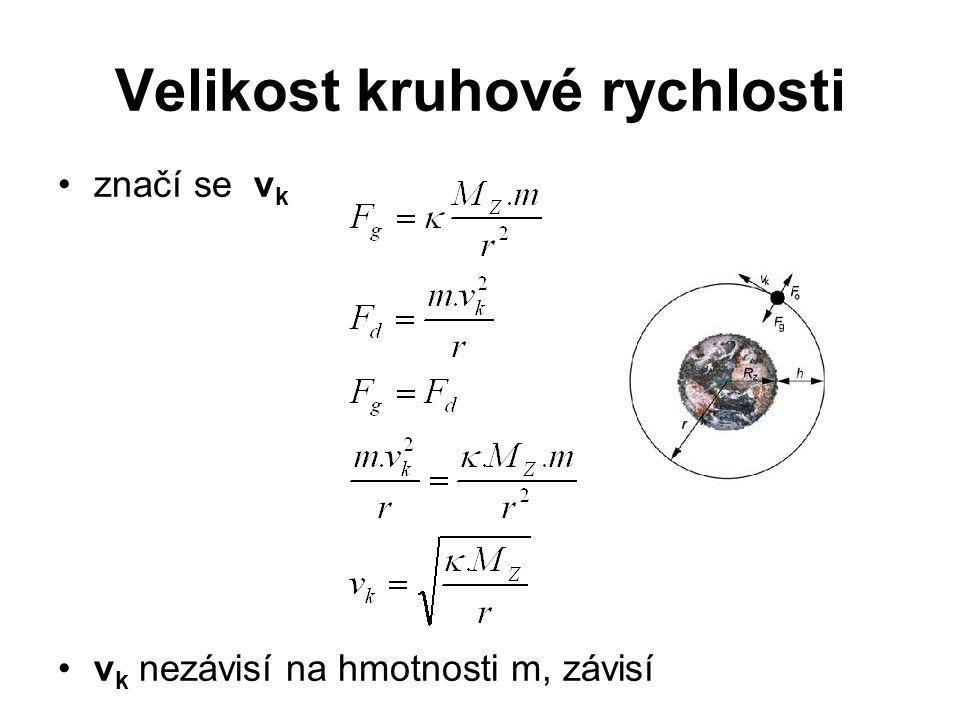Velikost kruhové rychlosti •značí se v k •v k nezávisí na hmotnosti m, závisí