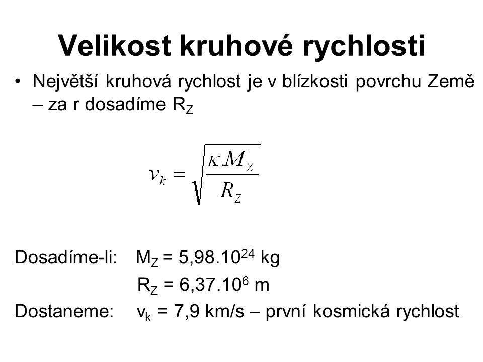 Velikost kruhové rychlosti •Největší kruhová rychlost je v blízkosti povrchu Země – za r dosadíme R Z Dosadíme-li: M Z = 5,98.10 24 kg R Z = 6,37.10 6