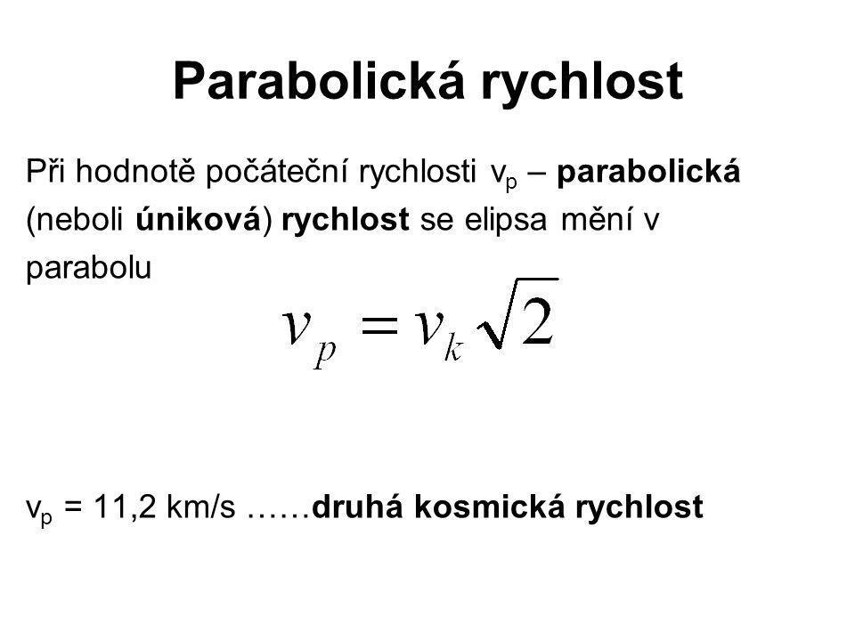 Parabolická rychlost Při hodnotě počáteční rychlosti v p – parabolická (neboli úniková) rychlost se elipsa mění v parabolu v p = 11,2 km/s ……druhá kos