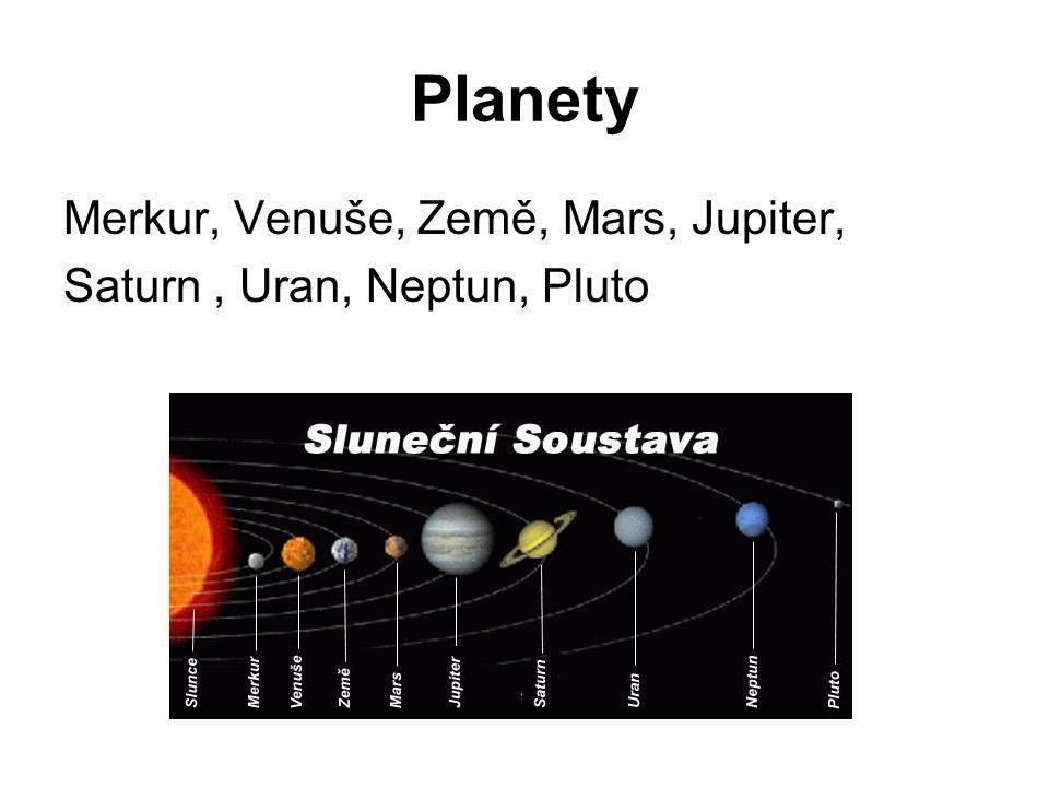 Planety Merkur, Venuše, Země, Mars, Jupiter, Saturn, Uran, Neptun, Pluto