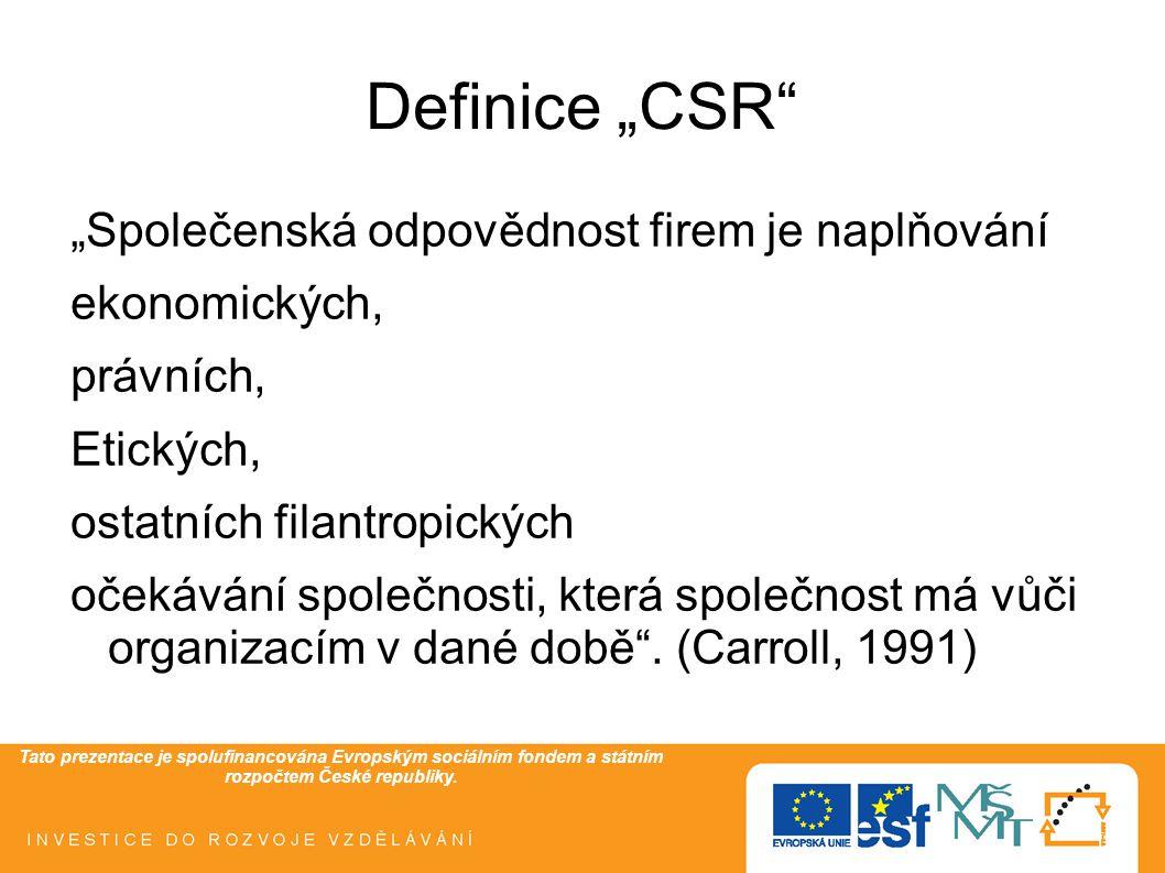 """Tato prezentace je spolufinancována Evropským sociálním fondem a státním rozpočtem České republiky. Definice """"CSR"""" """"Společenská odpovědnost firem je n"""