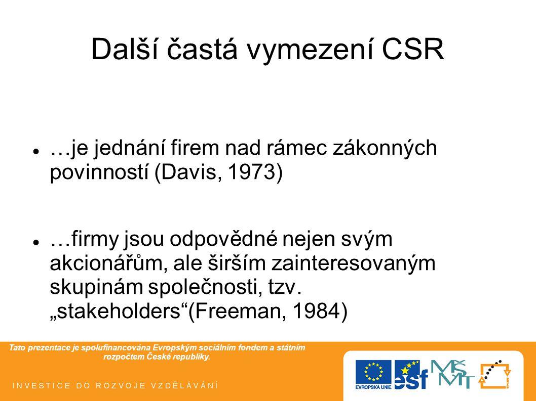 Tato prezentace je spolufinancována Evropským sociálním fondem a státním rozpočtem České republiky. Další častá vymezení CSR  …je jednání firem nad r