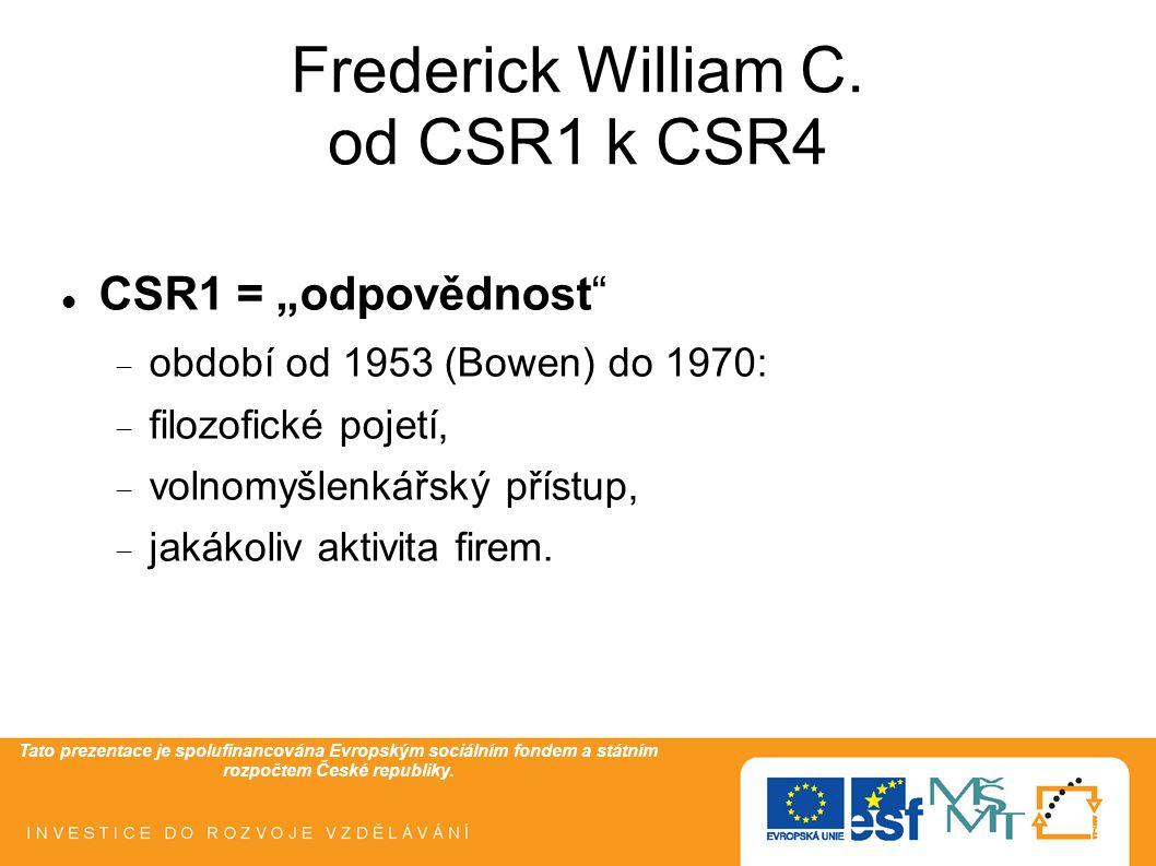 """Tato prezentace je spolufinancována Evropským sociálním fondem a státním rozpočtem České republiky. Frederick William C. od CSR1 k CSR4  CSR1 = """"odpo"""