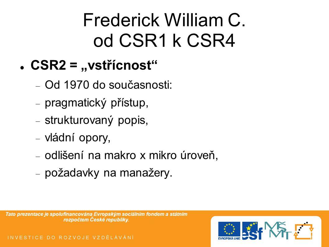 """Tato prezentace je spolufinancována Evropským sociálním fondem a státním rozpočtem České republiky. Frederick William C. od CSR1 k CSR4  CSR2 = """"vstř"""