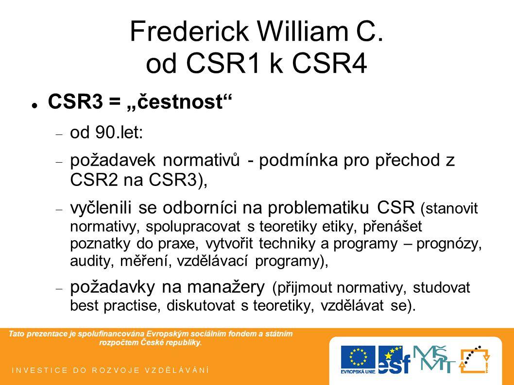 """Tato prezentace je spolufinancována Evropským sociálním fondem a státním rozpočtem České republiky. Frederick William C. od CSR1 k CSR4  CSR3 = """"čest"""