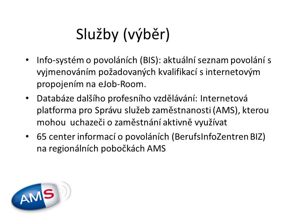 • Info-systém o povoláních (BIS): aktuální seznam povolání s vyjmenováním požadovaných kvalifikací s internetovým propojením na eJob-Room.