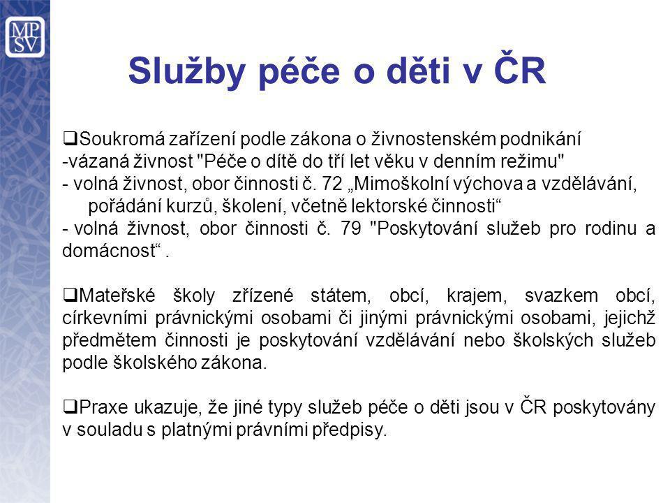 Služby péče o děti v ČR  Soukromá zařízení podle zákona o živnostenském podnikání -vázaná živnost