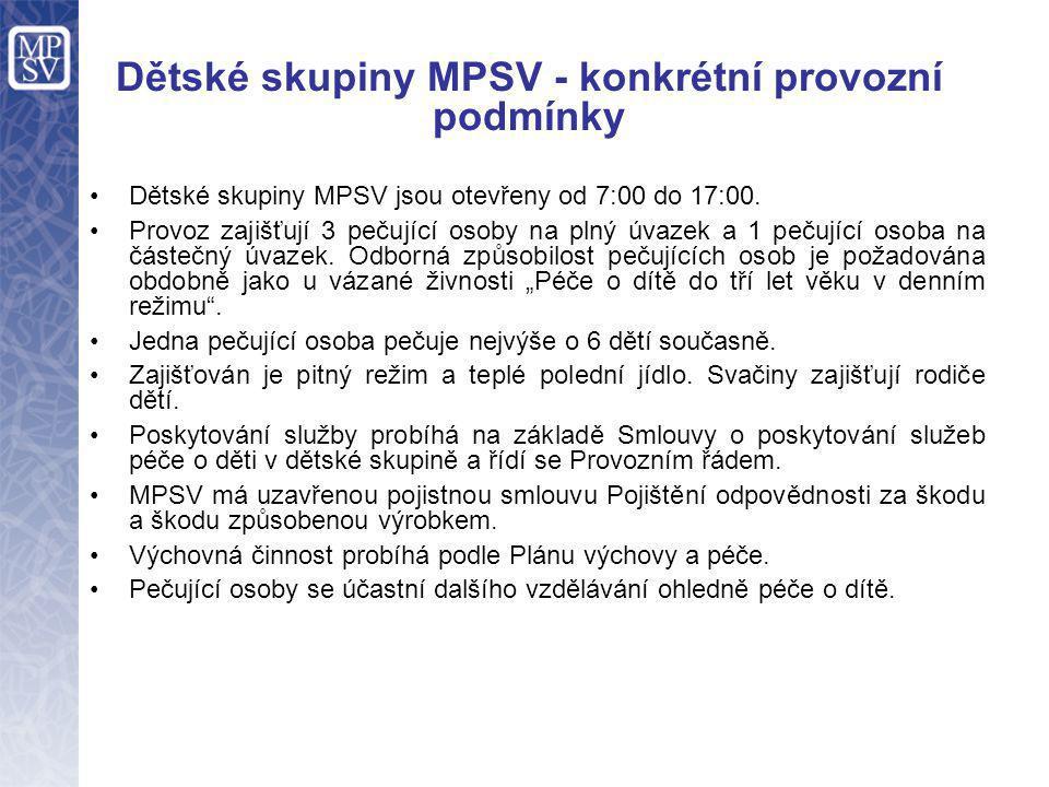 Dětské skupiny MPSV - konkrétní provozní podmínky •Dětské skupiny MPSV jsou otevřeny od 7:00 do 17:00. •Provoz zajišťují 3 pečující osoby na plný úvaz