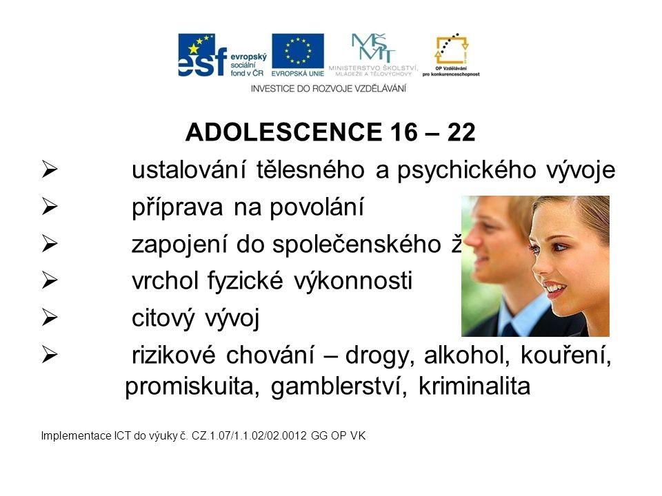 ADOLESCENCE 16 – 22  ustalování tělesného a psychického vývoje  příprava na povolání  zapojení do společenského života  vrchol fyzické výkonnosti