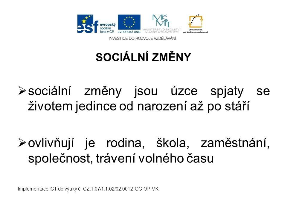 SOCIÁLNÍ ZMĚNY  sociální změny jsou úzce spjaty se životem jedince od narození až po stáří  ovlivňují je rodina, škola, zaměstnání, společnost, tráv