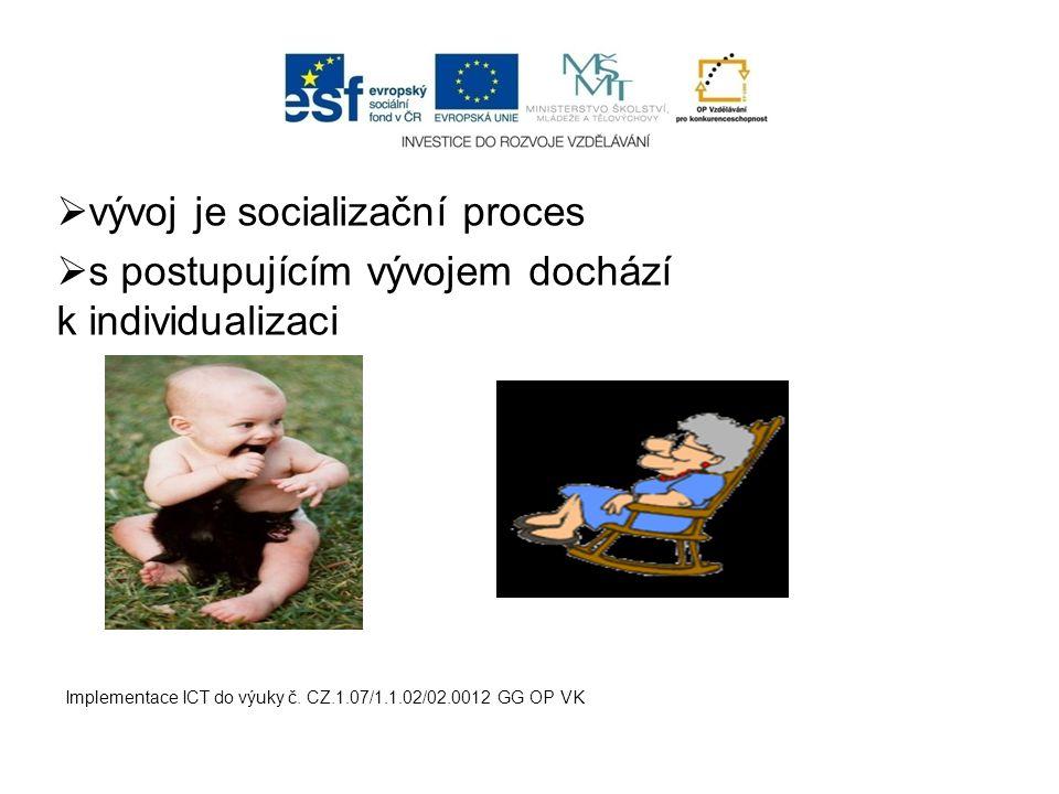  vývoj je socializační proces  s postupujícím vývojem dochází k individualizaci Implementace ICT do výuky č. CZ.1.07/1.1.02/02.0012 GG OP VK