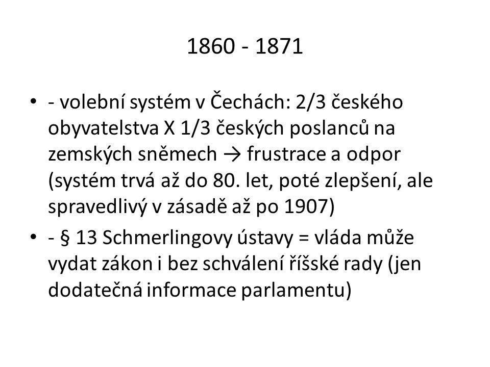 1860 - 1871 • - volební systém v Čechách: 2/3 českého obyvatelstva X 1/3 českých poslanců na zemských sněmech → frustrace a odpor (systém trvá až do 80.