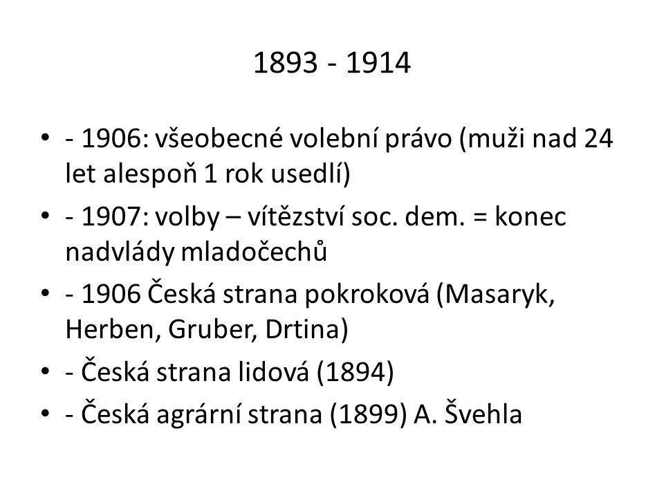 1893 - 1914 • - 1906: všeobecné volební právo (muži nad 24 let alespoň 1 rok usedlí) • - 1907: volby – vítězství soc.