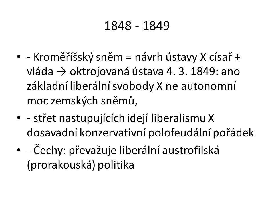 1870 - 1993 • Český klub na říšské radě: 4 frakce (Staročeši, Mladočeši, Moravané a aristokraté – klíčové postavení) • - od 80.